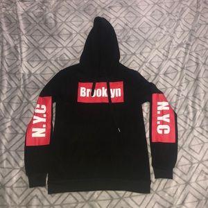 Junior's Black and Red Brooklyn, NYC Hoodie